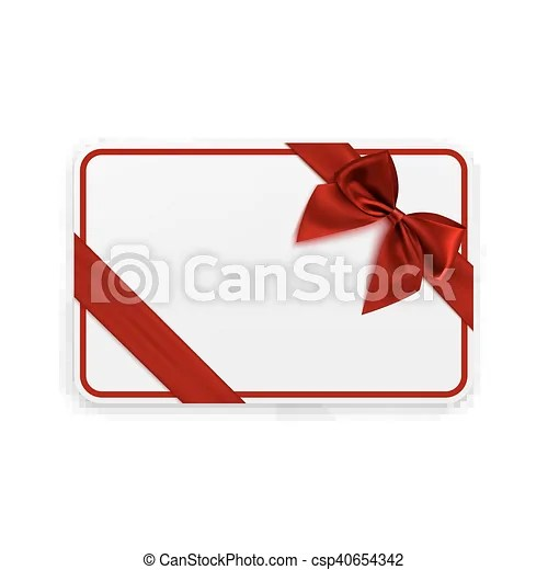 White blank gift card template with red ribbon and a bow vector