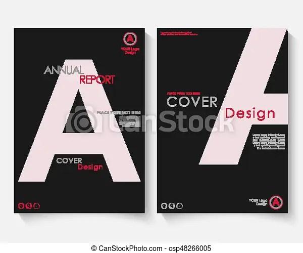 White letter annual report cover design template vector brochure