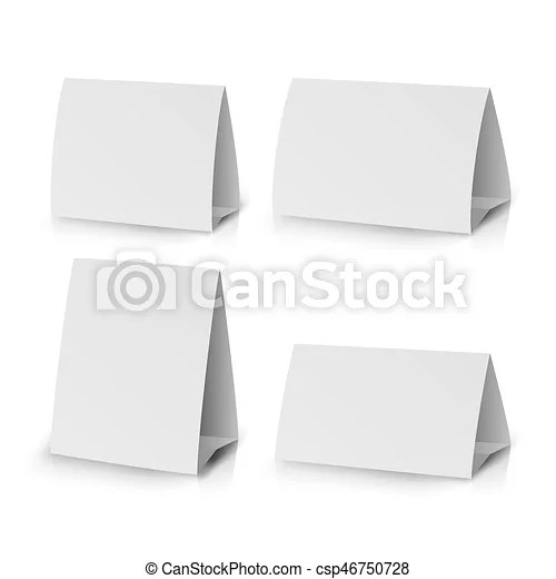 Vector Clip Art of White Paper Stand Table Tag Flyer Vector - white paper templates