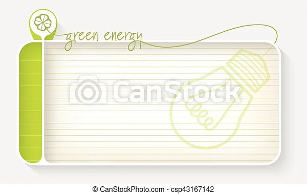White text box for your text with lined paper and theme of green energy