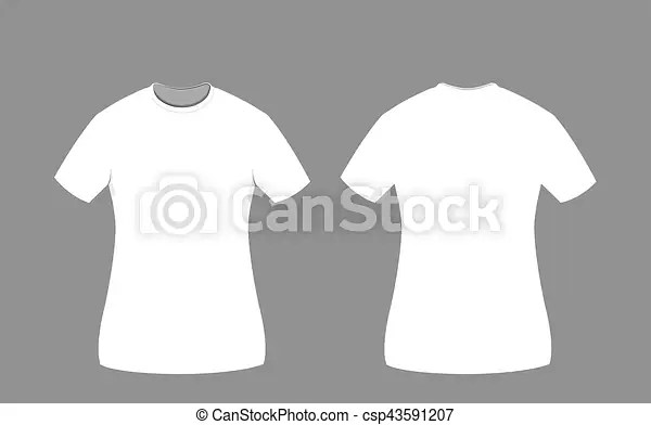 White woman t-shirt template front and back sides A vector cartoon