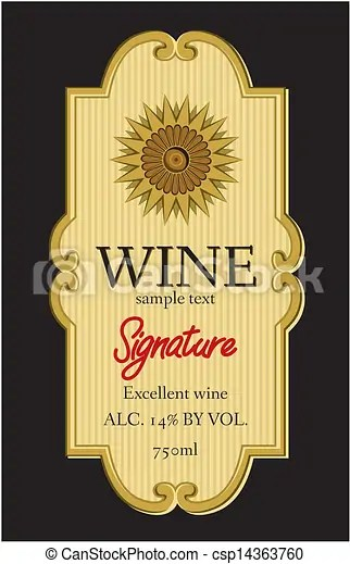 Wine label design clip art vector - Search Drawings and Graphics