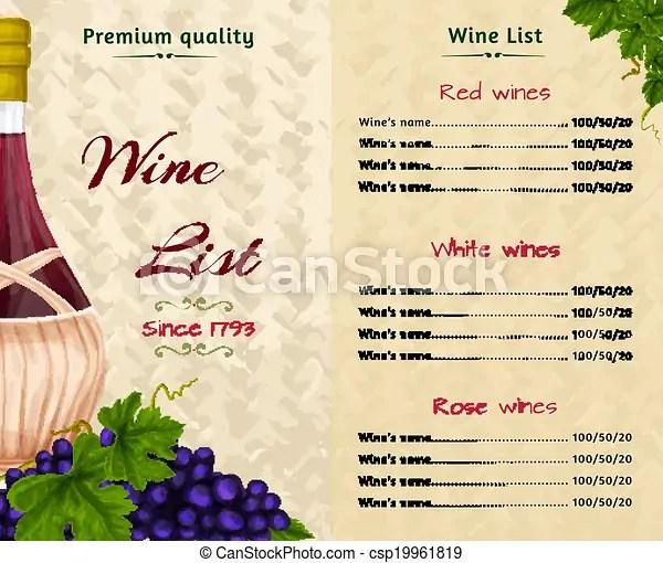 Wine list template Vintage restaurant premium quality wine list