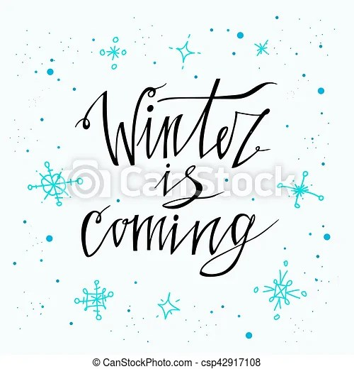 Winter is coming poster vector hand drawn holidays backgrounds with