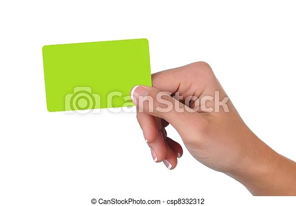 Woman holding a blank gift card Closeup of a woman\u0027s hand holding a