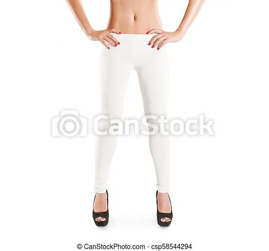 Woman wear blank white leggings mockup, isolated women in clear
