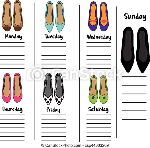 Woman weekly, daily planner template with fashionable shoes - daily organizer template
