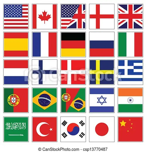 Word flag buttons Vector set of world flag buttons - word flag