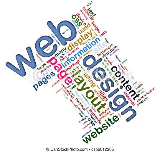 Wordcloud of web design Words in a wordcloud of web design concept
