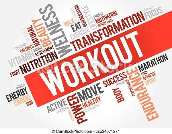 Workout word cloud, fitness, health concept vectors illustration