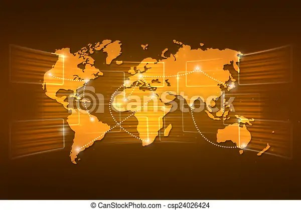 World map geography world order background shipping orange yello