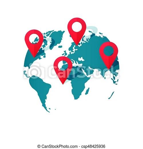 World map location pins vector, global gps transportation geo
