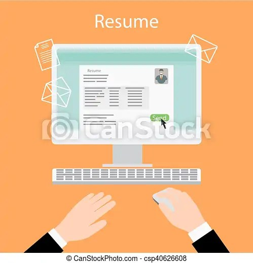 Writing a resume on computer vector illustration