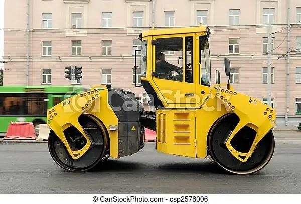 Yellow asphalt paving machine Heavy yellow roller compactor