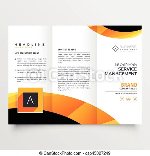 Yellow orange black trifold brochure flyer design template for your