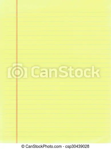 Yellow paper Blank page of yellow lined paper - blank lined page