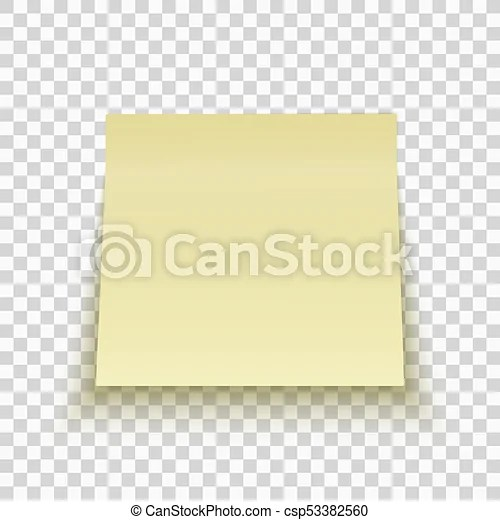 Yellow sticky note isolated on transparent background office note