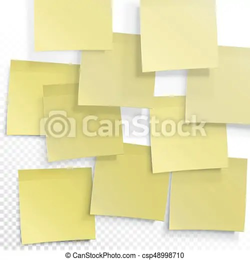 Yellow sticky notes vector editable template on transparent background