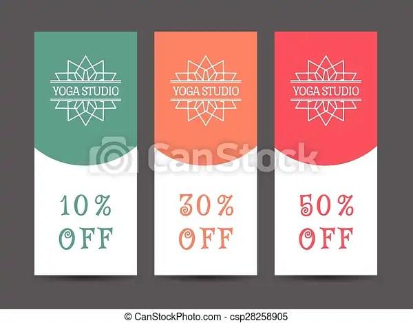 Yoga studio vector discount coupon template Yoga ornamental