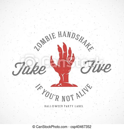 Zombie hand abstract vector halloween party label, emblem or flyer