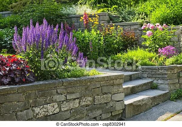 Stockfotografie von gartengestaltung, steingarten - stein - gartengestaltung steingarten