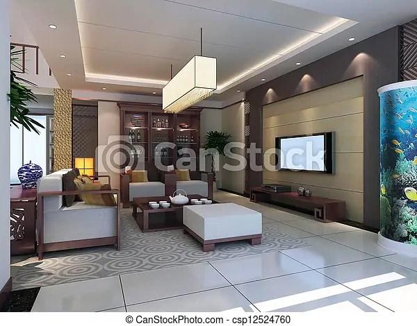 Stockbild von inneneinrichtung, wohnzimmer, modern, render, 3d - inneneinrichtung wohnzimmer modern