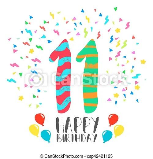 11, invitación, cumpleaños, año, fiesta, tarjeta, feliz Fiesta