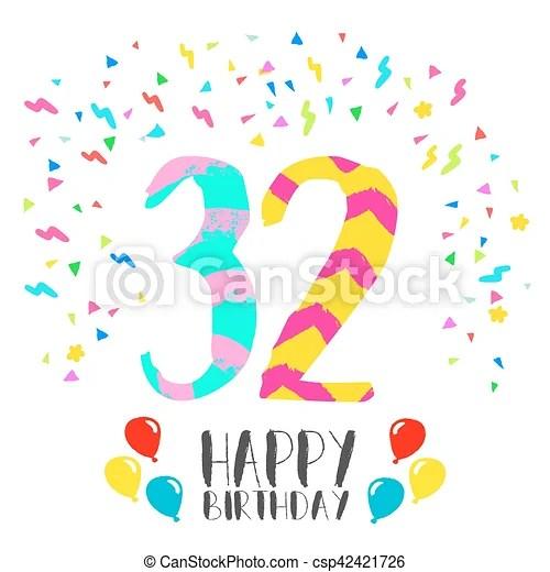 32, invitación, cumpleaños, año, fiesta, tarjeta, feliz Eps10