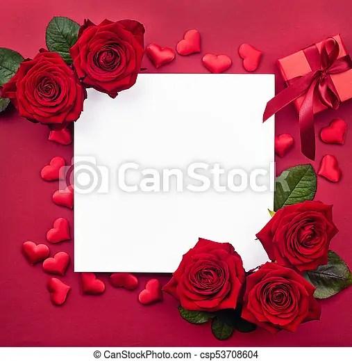 Caja, regalo, marco, creativo, rosas, corazones, rojo Caja, regalo - rosas y corazones