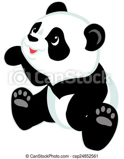 Animal Print Wallpaper Border Clip Art De Vectores De Sentado Panda Caricatura