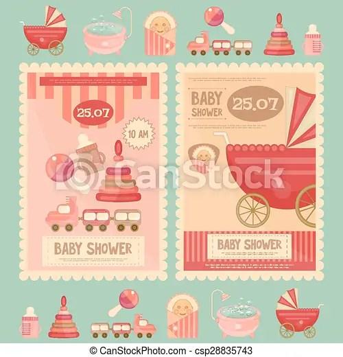 Fiesta de nacimiento, tarjetas Fiesta de nacimiento, vector eps