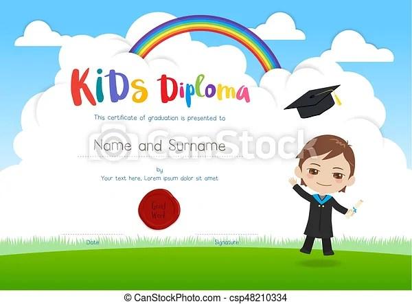 Niño, estilo, niños, colorido, certificado, bata, vuelo, diploma