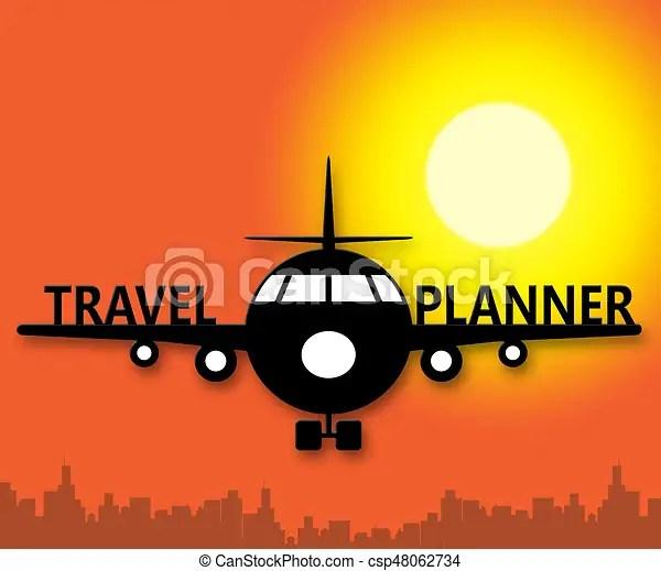 Planificador, planes, viaje, ilustración, significado, dibujos