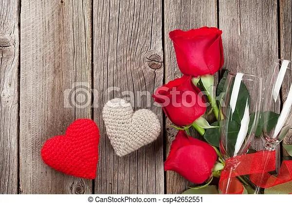 Rosas, corazones, día, rojo, valentino Espacio, tapa de madera - rosas y corazones