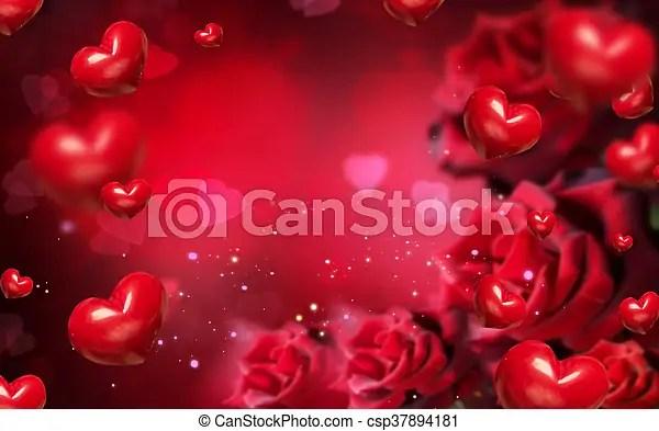 Rosas, corazones, fondo rojo, valentine