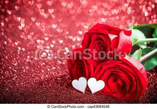 Rosas, corazones Valentines, encendido, rosas, bokeh, plano de