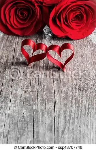 Rosas, corazones De madera, valentines, dos, rosas, plano de fondo