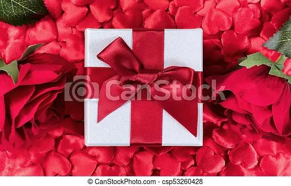 Rosas, corazones, plano de fondo, regalo, valentine Caja, regalo - rosas y corazones