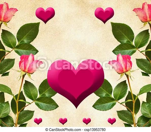 Rosas, corazones Rosas, hojas, viejo, plano de fondo