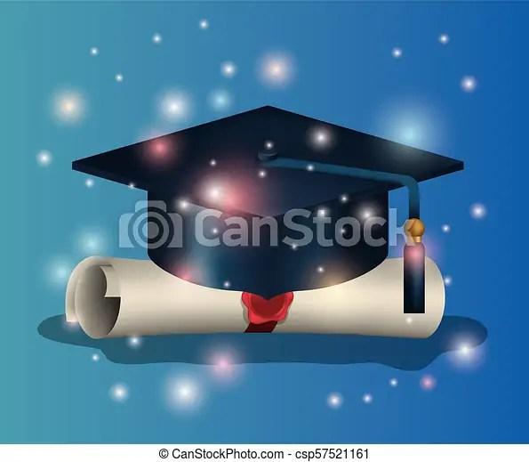 Tarjeta, sombrero, diploma, graduación Diploma, ilustración, vector