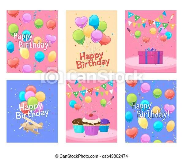 Tarjetas, feliz cumpleaños, conjunto, invitación Cumpleaños