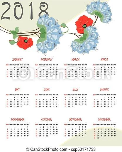 Gyönyörű, year, naptár, 2018, ábra