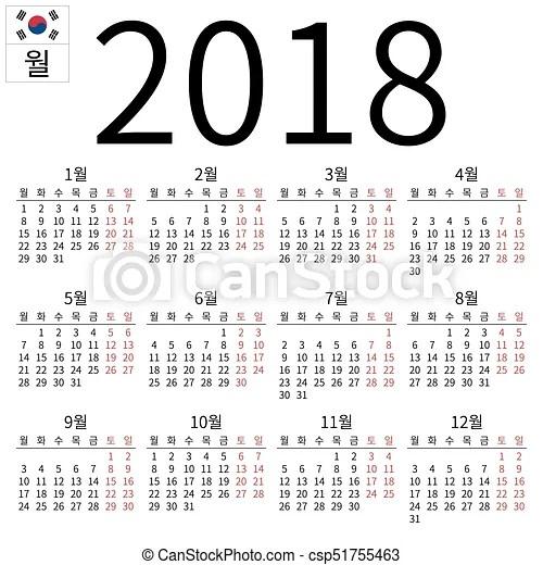 Naptár, 2018, hétfő, koreai Egyszerű, eps, calendar, év, gradients