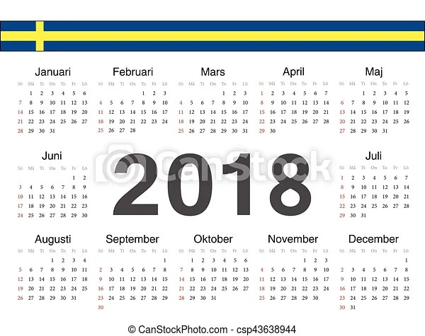 Svéd, karika, vektor, naptár, 2018 Svéd, hét, felriaszt, vektor