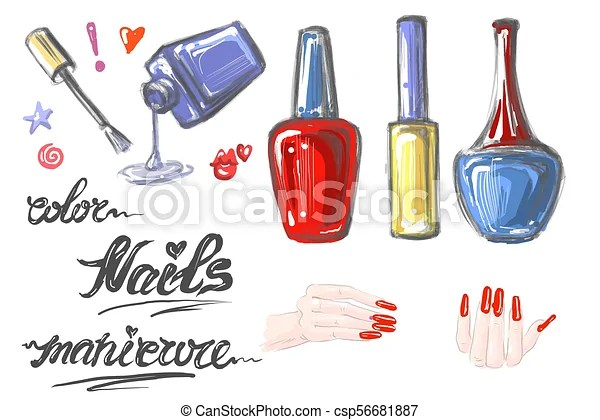 A Set Of Nail Polish For Manicure Hand Drawn Elements