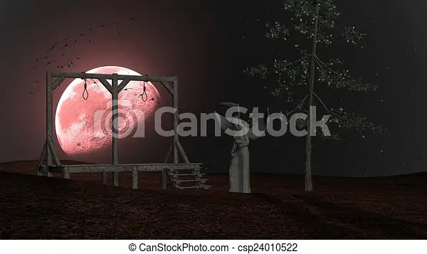 Angel of death - spooky night background with gallows, crows and red