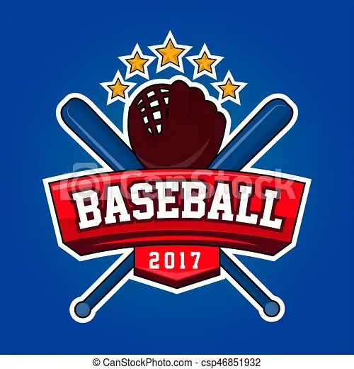 Baseball logo design with crossed bats, leather glove and stars