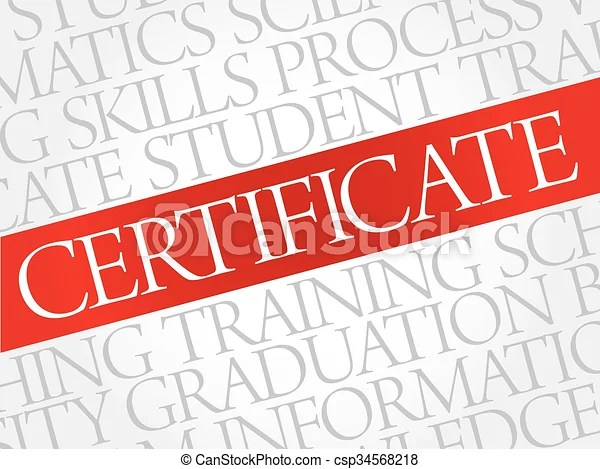 Certificate word cloud, education business concept vector clip art