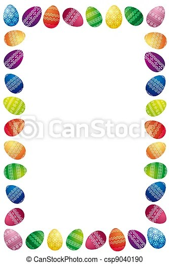 Easter border made of white painted easter eggs isolated on white