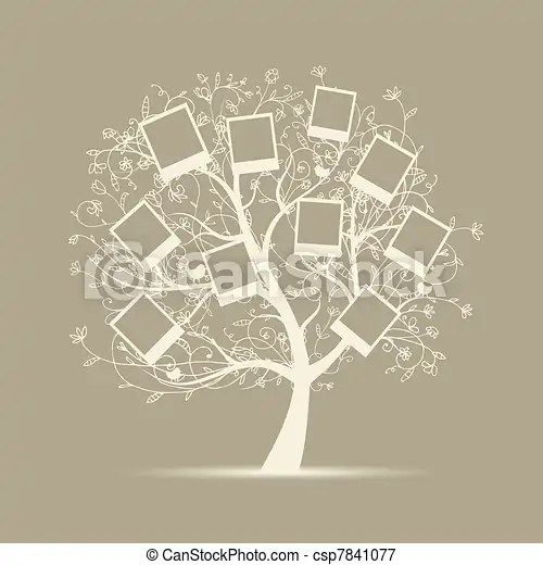 Family tree design, insert your photos into frames vectors